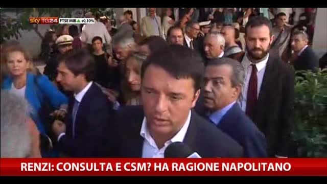 Renzi: Consulta e Csm? Ha ragione Napolitano