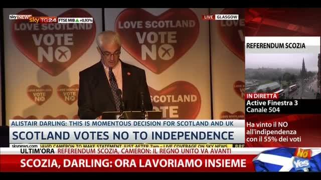 Scozia, Darling: ora lavoriamo insieme