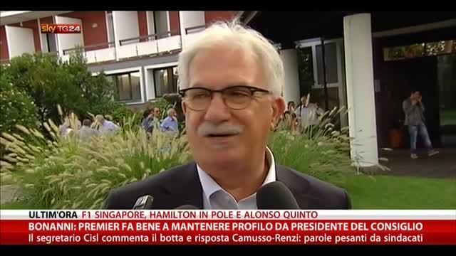 Bonanni: premier fa bene a mantenere profilo istituzionale