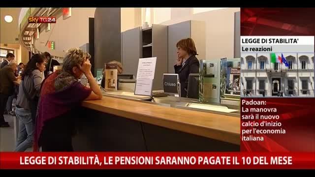Legge stabilità, le pensioni saranno pagate il 10 del mese