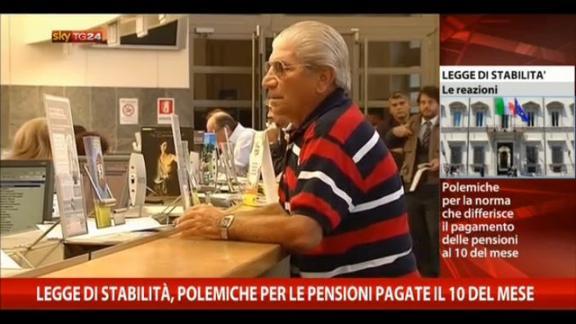 L. Stabilità, polemiche per pensioni pagate il 10 del mese