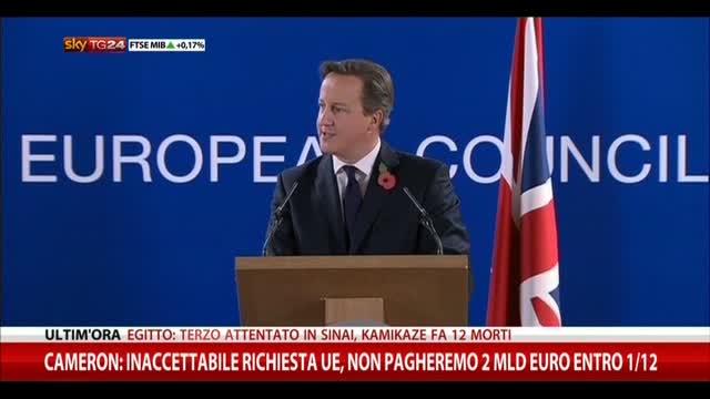 Cameron: inaccettabile richiesta Ue, non pagheremo 2 mld