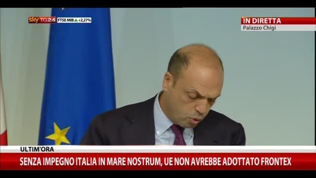 Alfano: senza Mare Nostrum non avremmo Frontex