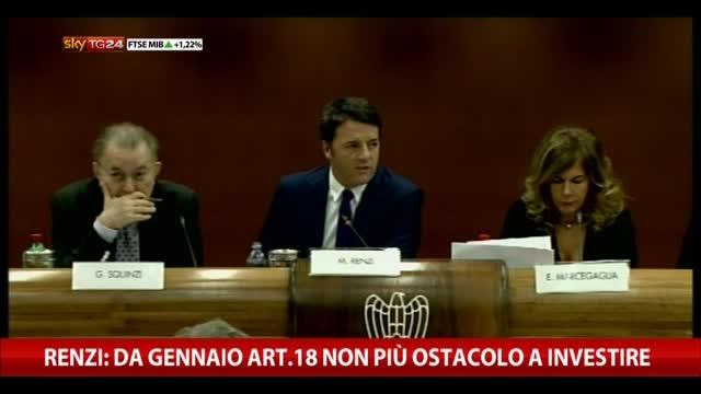 Renzi: da gennaio art. 18 non più ostacolo per invetsire