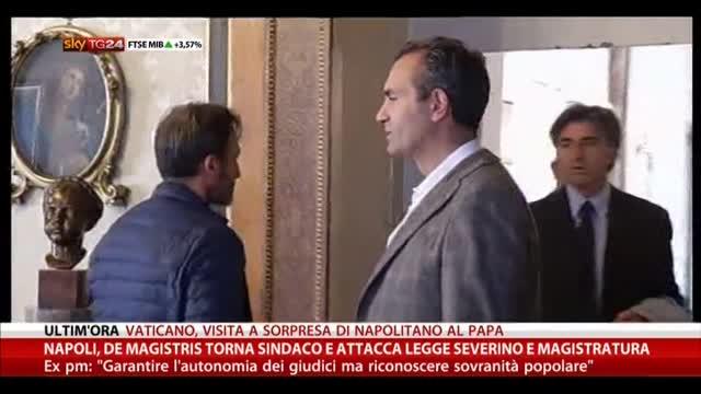 Napoli, De Magistris torna sindaco e attacca Legge Severino