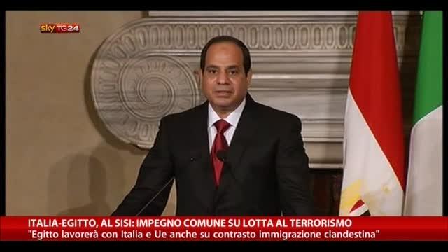 Italia-Egitto, Al Sisi: impegno comune su lotta a terrorismo