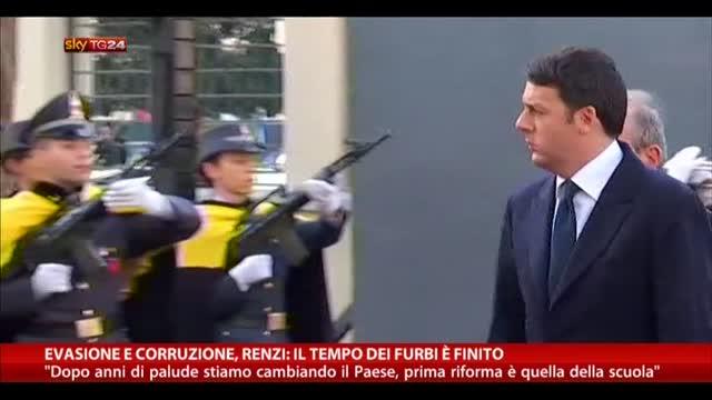 Evasione e corruzione, Renzi: il tempo dei furbi è finito