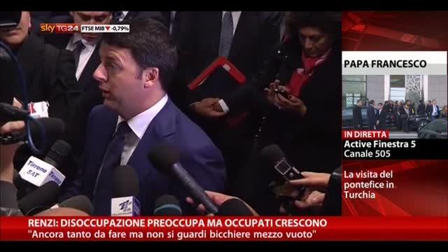 Renzi: disoccupazione preoccupa ma occupati crescono