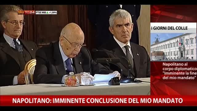 Napolitano: imminente conclusione del mio mandato