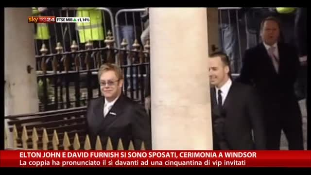 Elton John e Furnish si sono sposati, cerimonia a Windsor