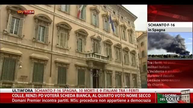 Colle, Renzi: Pd voterà scheda bianca, a 4' voto nome secco