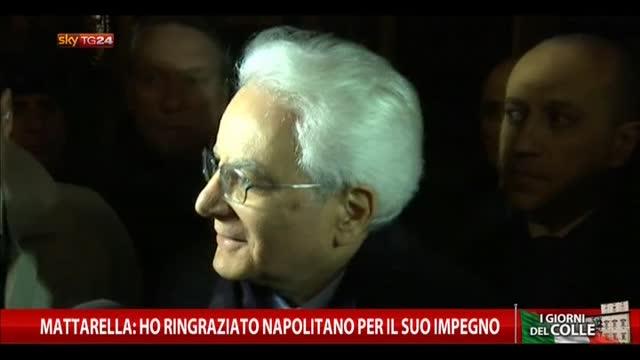 Mattarella: ho ringraziato Napolitano per il suo impegno