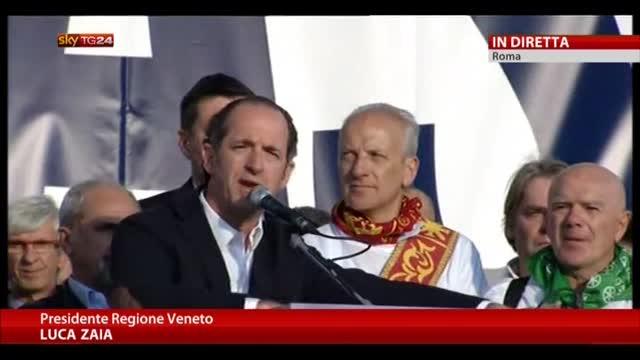Manifestazione Roma, l'intervento di Luca Zaia