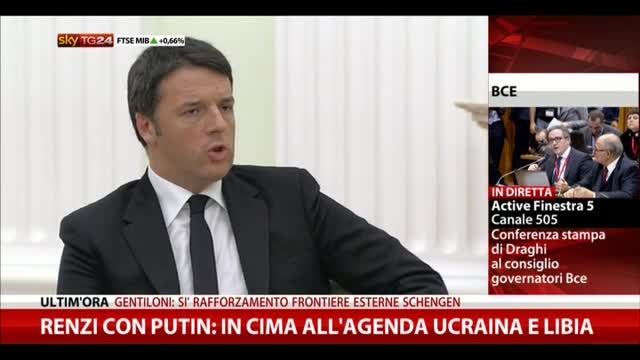 Renzi e Putin: in cima all'agenda Ucraina e Libia