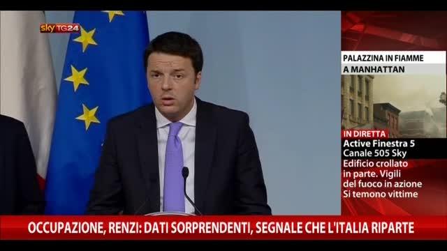 Occupazione, Renzi: dati sorprendenti, segnale di ripartenza