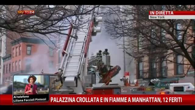Palazzina crollata e in fiamme a Manhattan, 12 feriti