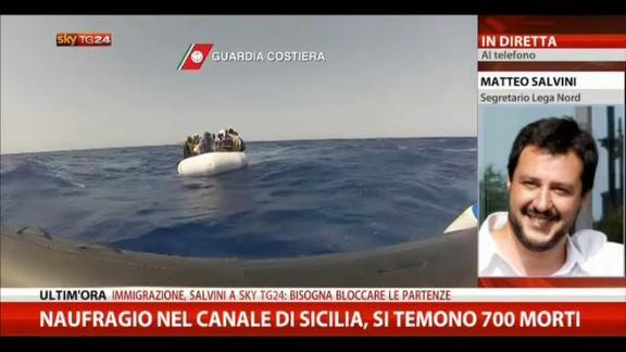"""Naufragio Canale di Sicilia, Salvini: """"Bloccare le partenze"""""""