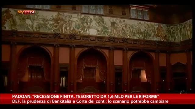 """Padoan: """"Recessione finita, tesoretto 1,6 mld per riforme"""""""