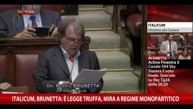 Italicum, Brunetta: legge truffa, mira regime monopartitico
