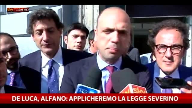 De Luca, Alfano: applicheremo la legge Severino