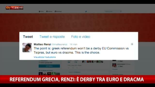 Referendum Grecia, Renzi: è derby euro-dracma
