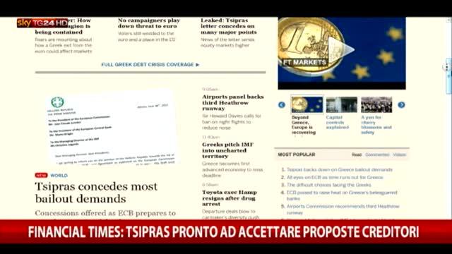 Grecia, Tsipras pronto ad accettare proposte creditori