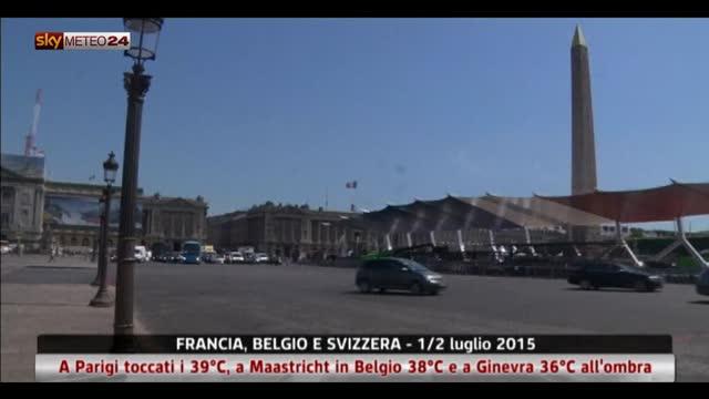 Caldo record in Francia, Belgio e Svizzera