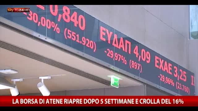 Atene, dopo oltre un mese riapre la Borsa: crollo del 16%