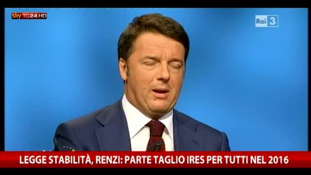 Renzi: parte taglio Ires per tutti nel 2016