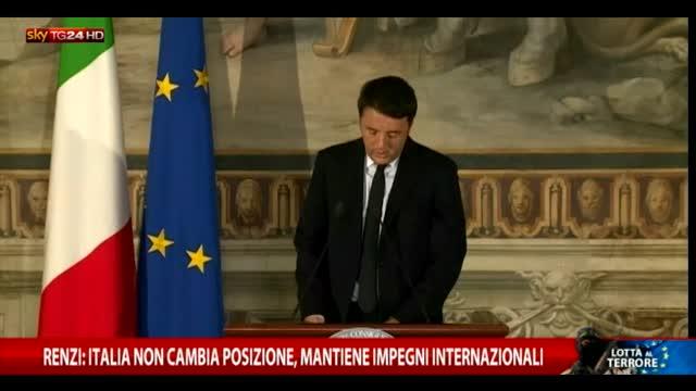 Renzi: l'Italia mantiene gli impegni internazionali