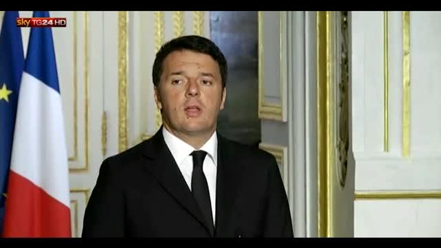 """Renzi: """"Sosteniamo sforzo diplomatico di Hollande"""""""