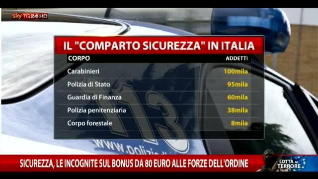 Sicurezza, ipotesi sul bonus da 80 euro a forze dell'ordine
