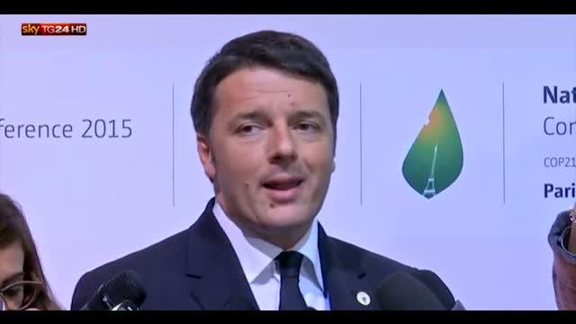 Renzi: l'Italia dal 1990 a oggi ha ridotto emissioni del 23%