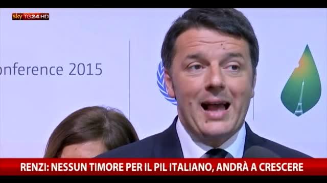 Renzi: nessun timore per il Pil, andrà a crescere