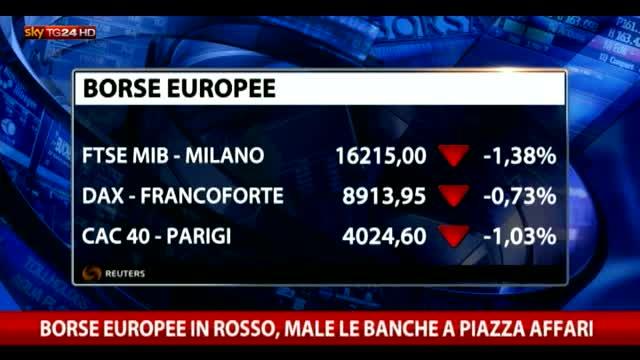 Borse europee in rosso, male anche piazza Affari