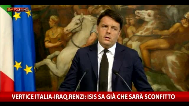 Vertice Italia-Iraq, Renzi: Isis sa già che sarà sconfitto