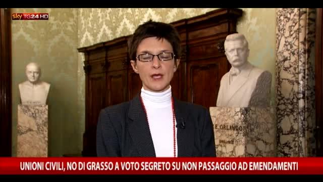 Unioni Civili, no di Grasso a primo voto segreto