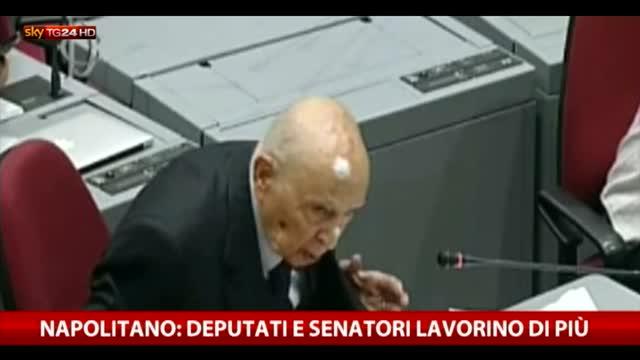 Napolitano: deputati e senatori lavorino di più