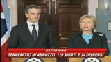 Terremoto Abruzzo, il cordoglio di Hillary Clinton