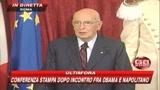 Napolitano e Obama: forte convergenza tra Italia e Usa