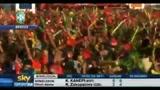 29/06/2010 - Sudafrica 2010, i tifosi brasiliani festeggiano il passaggio ai quarti
