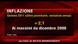 ISTAT: a gennaio inflazione aumenta del 2,1% annuo