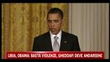 Libia, Obama: Basta violenze Gheddafi deve andarsene