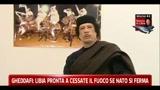 Gheddafi: Libia pronta a cessate il fuoco se Nato si ferma