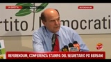 Referendum, conferenza stampa del segretario PD Bersani