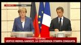 Merkel-Sarkozy, la conferenza stampa congiunta