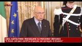 Crisi, Napolitano: proseguire su percorso virtuoso