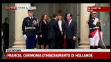 15/05/2012 - Francia, insediamento Hollande: stretta di mano con Sarkozy