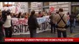 Sciopero europeo, studenti protestano vicino a Palazzo Chigi