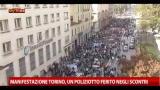 Manifestazione Torino, un poliziotto ferito negli scontri